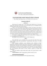 GELENEKLERİN TOPLUMDAKİ YERİ VE ÖNEMİ - Fırat Üniversitesi