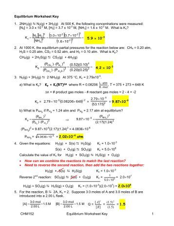 Chemical equilibrium worksheet 1 answers