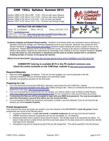 chemistry 152 syllabus spring 2013 leedy page 1 of 5 gcc links rh yumpu com General Chemistry 1 Lab Manual Chemistry Laboratory