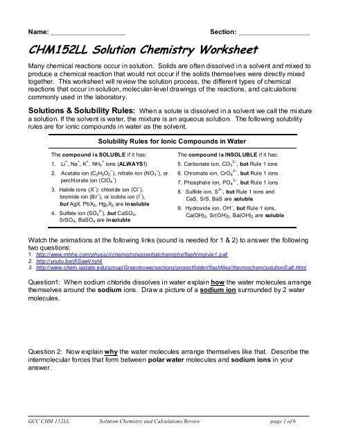 Solutions Worksheet - GCC links