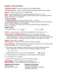 Reaction Energy a/k/a Thermochemistry