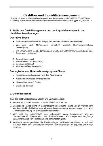 Cashflow und Liquiditätsmanagement