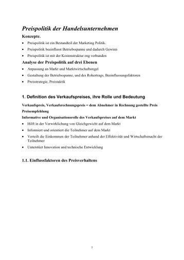 Vorlesung Preispolitik