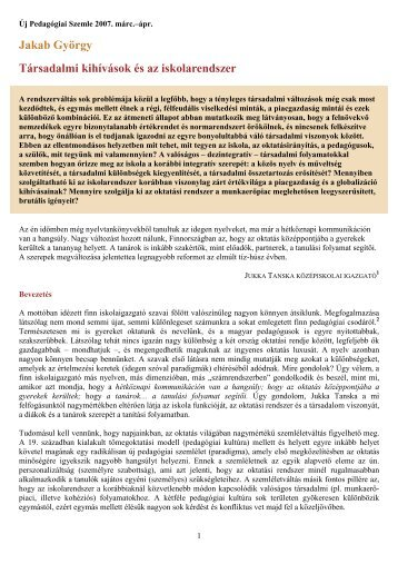 Jakab: Társadalmi kihívások és az iskolarendszer