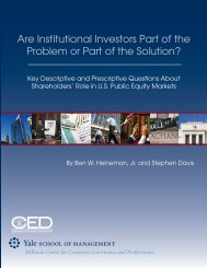 Are Institutional Investors Part of the Problem or ... - Yale University