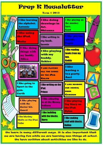 Prep K Newsletter - Mildura West Primary School