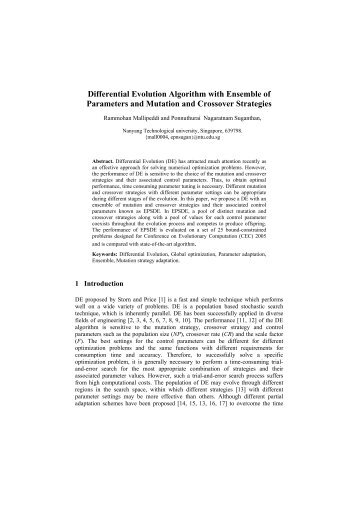 Differential Evolution Algorithm with Ensemble of Parameters and ...
