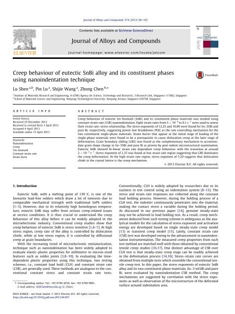 Creep behaviour of eutectic SnBi alloy and its constituent phases ...