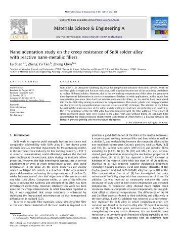 Nanoindentation study on the creep resistance of SnBi solder alloy ...