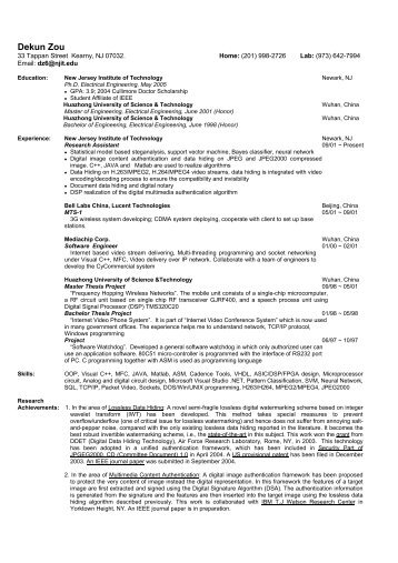 Resume - Njit - New Jersey Institute of Technology