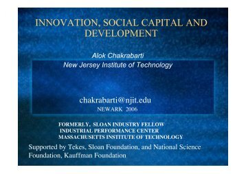 innovation, social capital and development - Njit - New Jersey ...