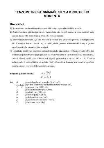 tenzometrické snímače síly a krouticího momentu - Quick.cz