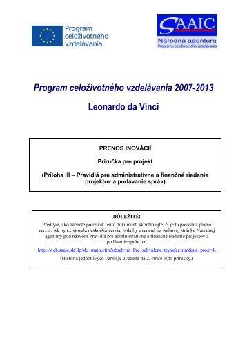 Projektová príručka o administratívnom a finančnom manažmente a ...