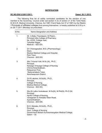 to view the Nominated details - Tamil Nadu Dr. MGR Medical ...