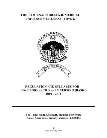 B.Sc.(N) Regulations and Syllabus from 2010 - Plagiarism Web Tool ...