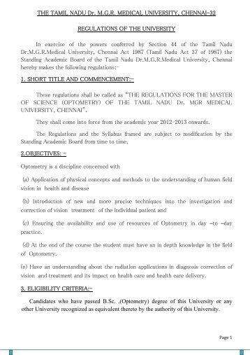 M.Sc. (Optometry) Syllabus & Regulations - Tamil Nadu Dr. MGR ...