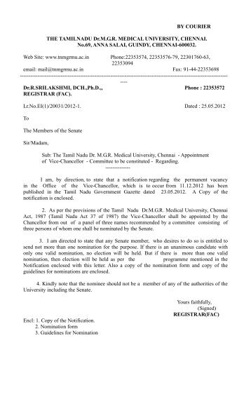 BY COURIER THE TAMILNADU Dr.M.G.R. MEDICAL UNIVERSITY ...