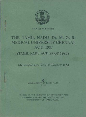 Medical University Act - Tamil Nadu Dr. MGR Medical University