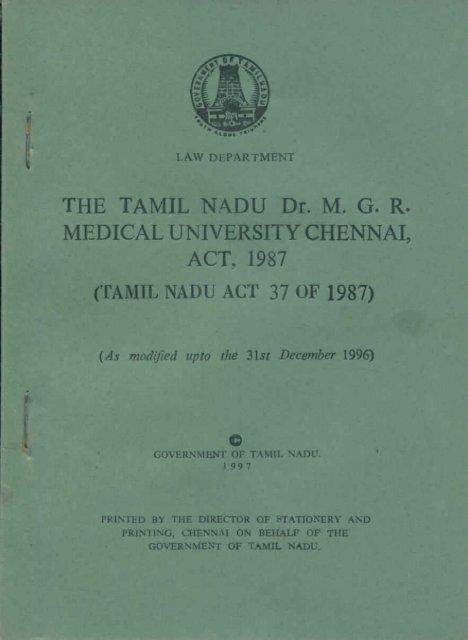 Medical University Act - Tamil Nadu Dr. MGR Medical University