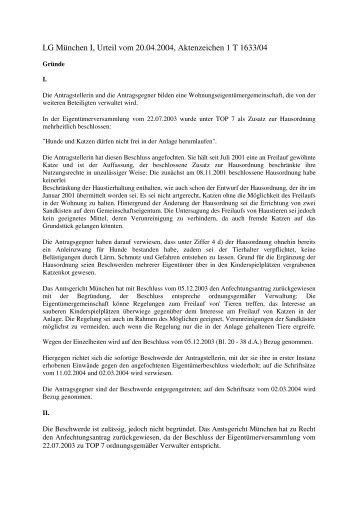 LG München I, Urteil vom 20.04.2004, Aktenzeichen 1 T 1633/04