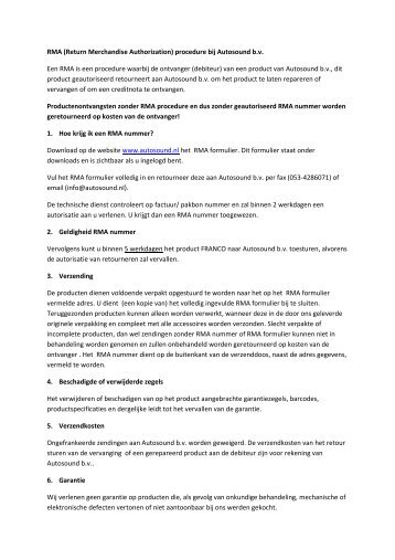 RMA (Return Merchandise Authorization) procedure bij Autosound ...