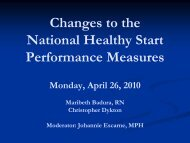 Changes to the National Healthy Start Performance Measures - HRSA