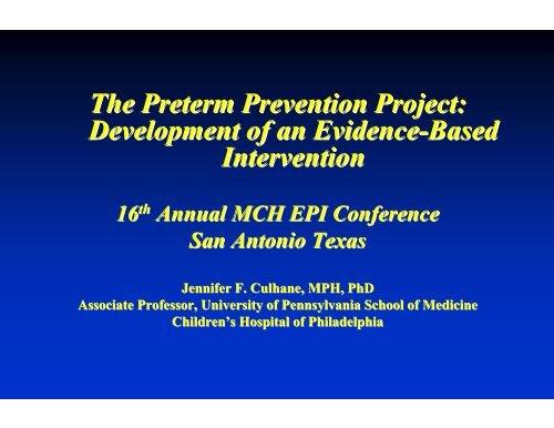 The Preterm Prevention Project: Development of an ... - HRSA