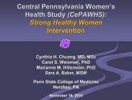 Central Pennsylvania Womens Health Study (CePAWHS) - HRSA