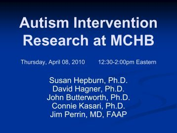 Autism Intervention Research at MCHB - HRSA