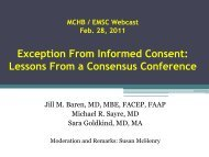 Exception From Informed Consent: Lessons From a ... - HRSA