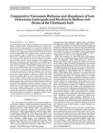 Comparative Taxonomic Richness and Abundance of Late ... - BioOne