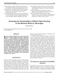 Assessing the Sustainability of Baird's Tapir Hunting in the Bosawas ...