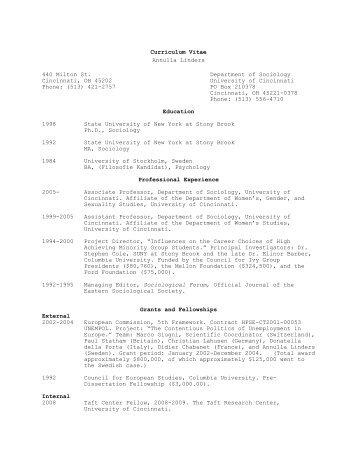 Curriculum Vitae University Of Cincinnati