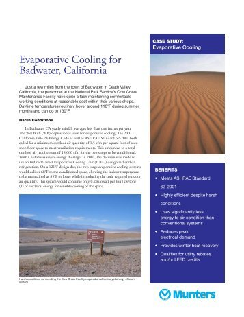 Evaporative Cooling for Badwater, California - Munters