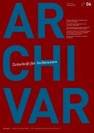 Zeitschrift für Archivwesen - Archive in Nordrhein-Westfalen