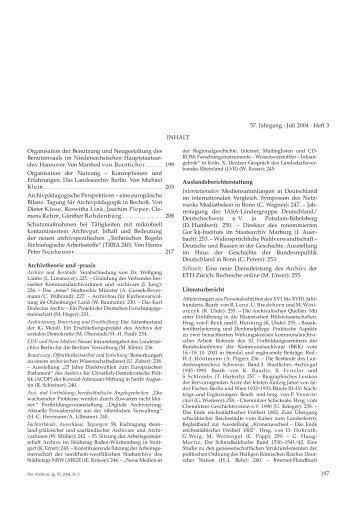 Der Archivar, Heft 3, Juli 2004 - Archive in Nordrhein-Westfalen