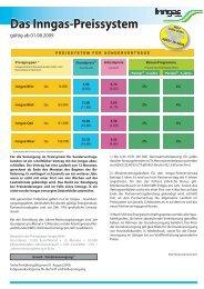 Preissystem Sondervertrag ab 01.08.2009