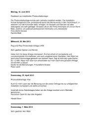 Montag, 10. Juni 2013 Feedback zur installierten Photovoltaikanlage
