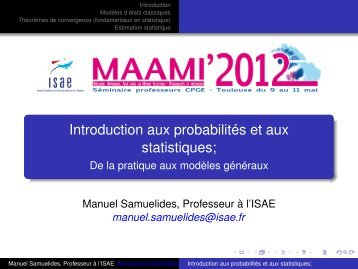 Introduction aux probabilités et aux statistiques; - De la pratique aux ...