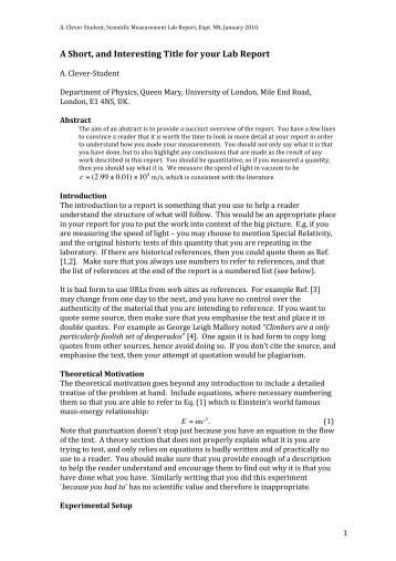 Sample Informal Lab Report - Shaw.Ca