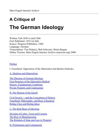 the german ideology The german ideology was written by karl marx and friedrich engels circa 1846, but published later the original edition was divided into three parts part i, the .