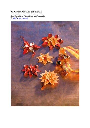 18. Türchen Bastel-Adventskalender Tütensterne aus Tonpapier