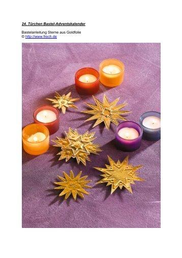 24. Türchen Bastel-Adventskalender Geprägte Sterne aus Goldfolie