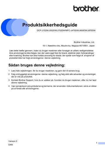 Produktsikkerhedsguide - Brother Solutions Center