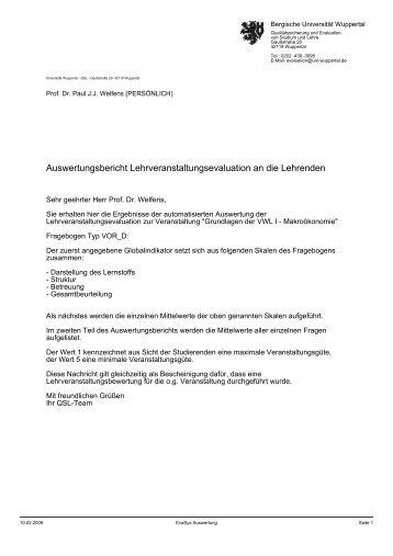 VWL I - Prof. Dr. Paul JJ Welfens - Bergische Universität Wuppertal