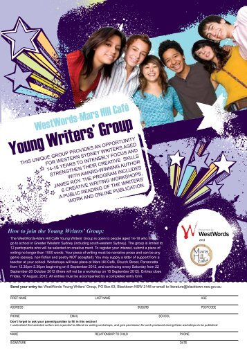 Young Writers Group Entry Form - WestWords