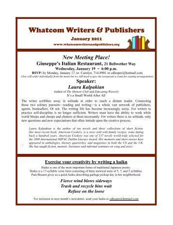 January 2011 - Whatcom Writers and Publishers