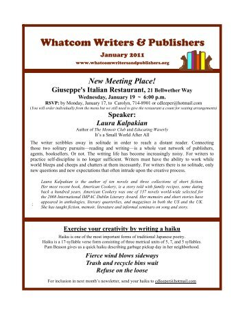 January 2011 - Whatcom Writers and Publishers