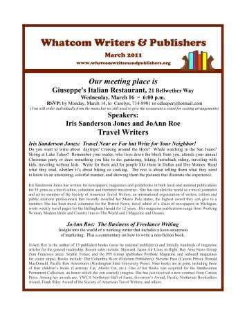 March 2011 - Whatcom Writers and Publishers