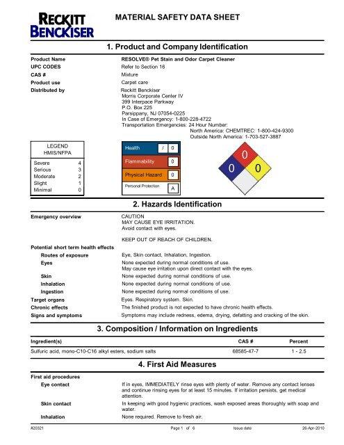 Material Safety Data Sheet 1 Product Reckitt Benckiser